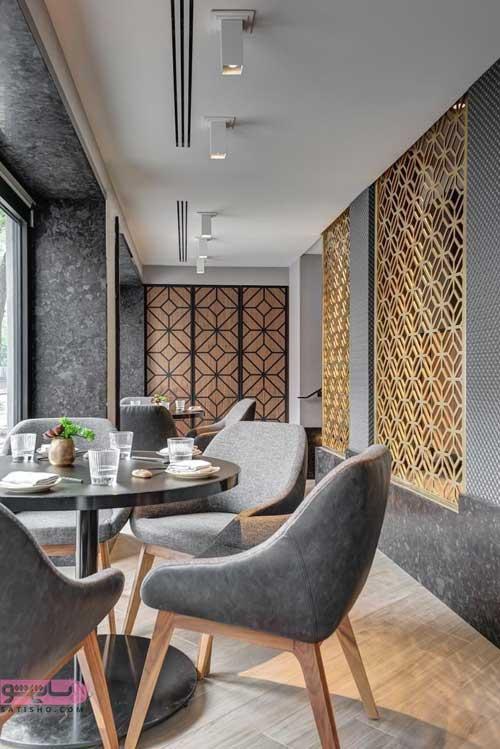 مدل دکوراسیون جدید رستوران با تم طوسی و خاکستری