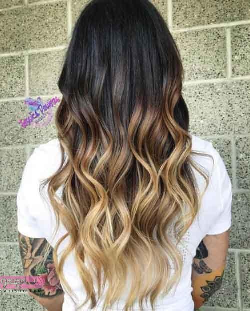 عکس از هایلایت روشن روی موهای تیره