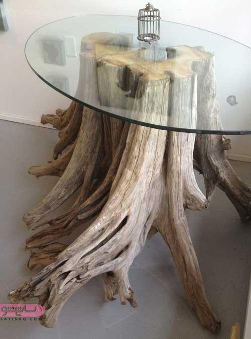 میز شیشه ای زیبا با تنه درخت بزرگ در اتاق پذیرایی