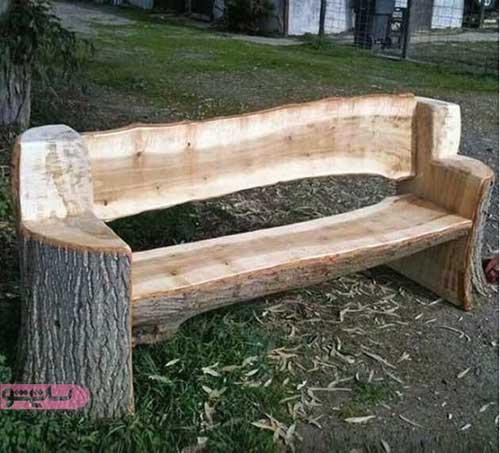 ساخت نیمکت چوبی با تنه درخت به صورت خلاقانه