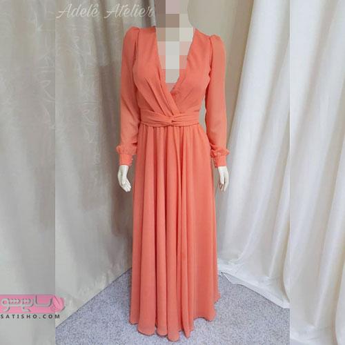 لباس مجلسی حریر بلند شیک و جذاب مرجانی رنگ سال
