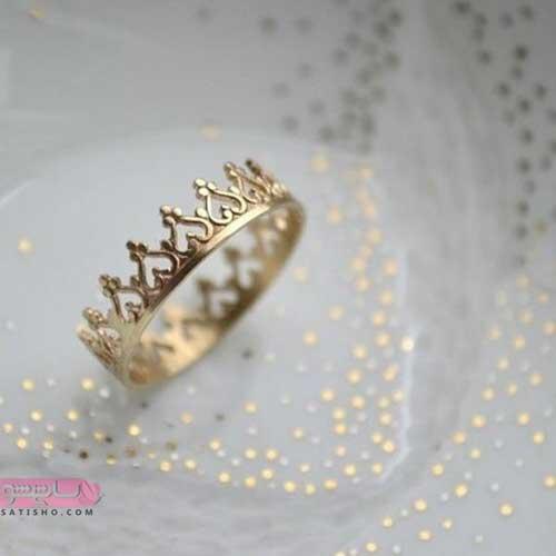 عکس انگشتر کینگ طلایی رنگ دخترانه جدید