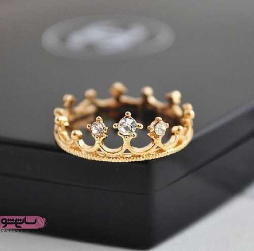 انگشتر های طلایی رنگ نگین دار خاص و زیبا