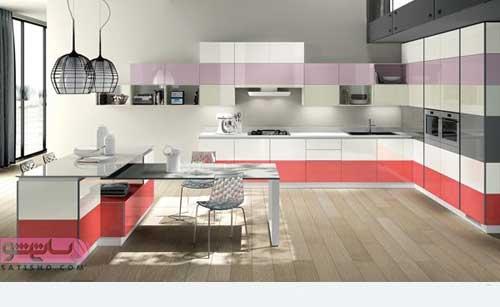 کابینت رنگارنگ آشپزخانه