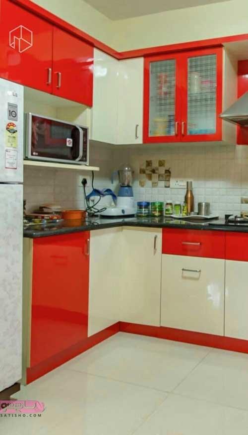 مدل کابینت پی وی سی قرمز آشپزخانه