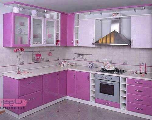 دکوراسیون آشپزخانه ایرانی با تم بنفش
