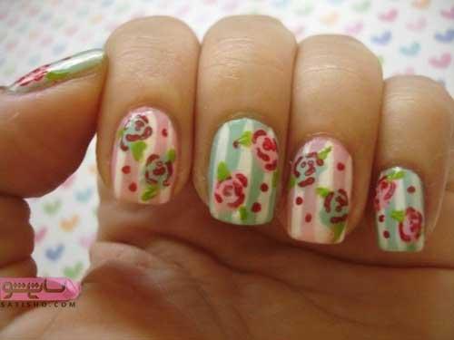 طراحی ناخن ساده گل گلی فانتزی دخترانه پسند