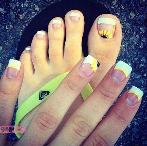 طراحی ناخن فانتزی دخترانه ست با طراحی ناخن پا مناسب استخر