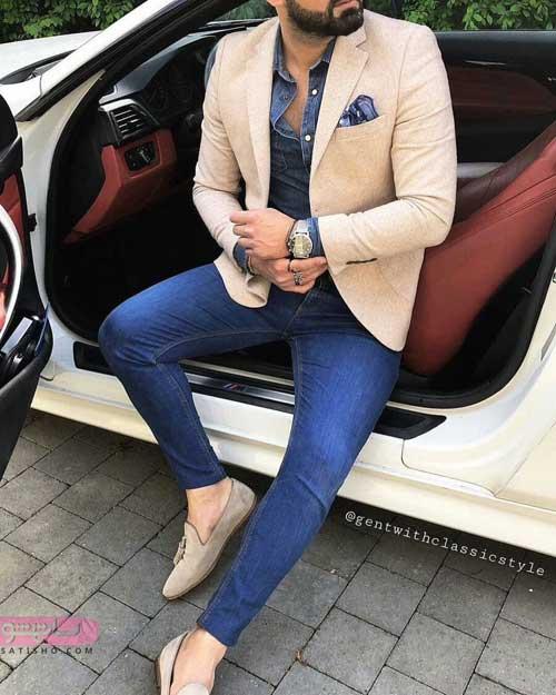 عکس کت تک مردانه با شلوار جین شیک