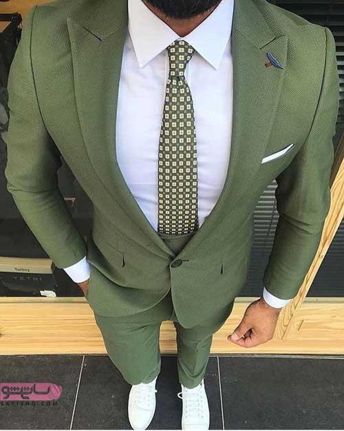 مدل لباس مردانه رسمی به رنگ سبز روشن