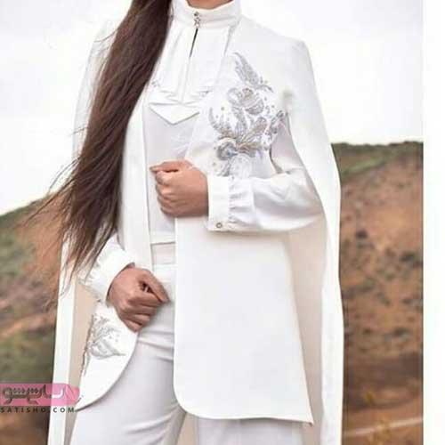 مدل مانتو پانچ سفید برای عقد
