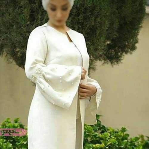 مدل مانتو مرواریددوزی شده برای مراسم عقد در محضر