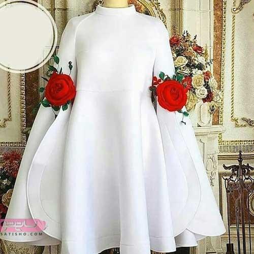 مدلهای جدید مانتو های سفید همراه با استین جدید کلوش و گل قرمز