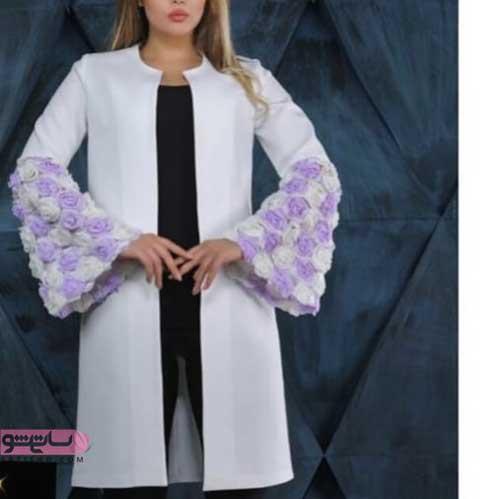 مدل مانتو طرح دار و شیک سفید با پارچه گیپور گلدار