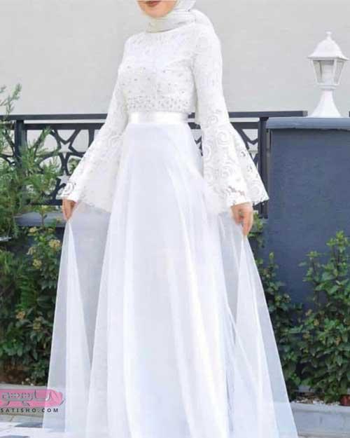 مدل مانتو گیپور سفید برای عقد در محضر