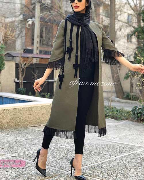 مدل مانتو صدری رنگ بلند