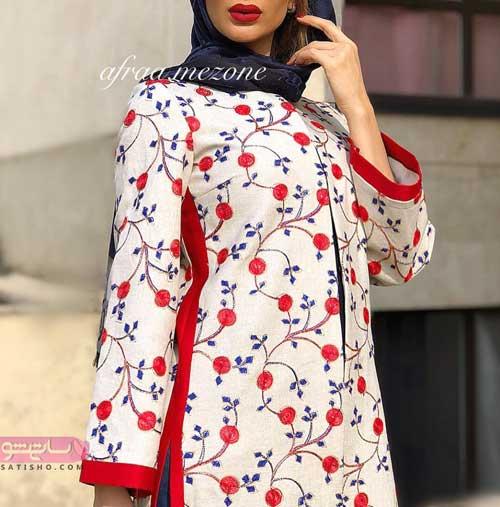 مانتو طرح سنتی و ایرانی بلند با رنگ قرمز