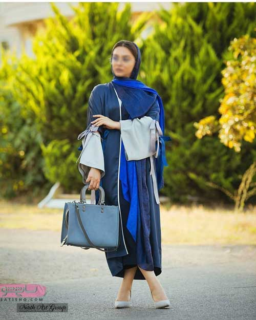 مدل مانتو مجلسی تابستانه راحت رنگ آبی