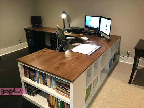 تلفیق میز کامپیوتر با کتابخانه