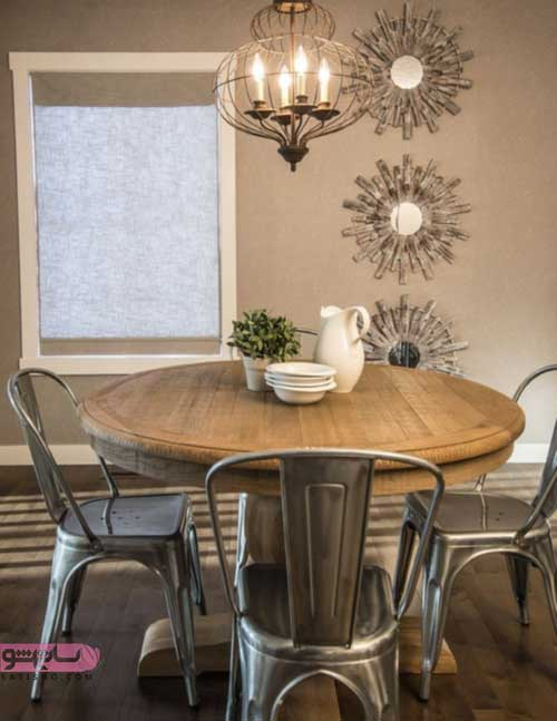دکوراسیون اتاق پذیرایی با میز ناهارخوری