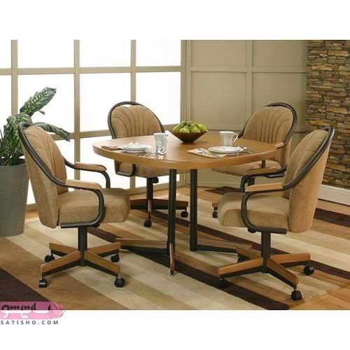 مدل میز ناهارخوری با صندلی های چرخان
