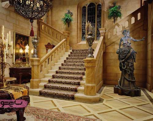 عکس پلکان سنگی با فرش