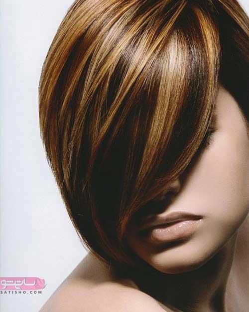 عکس رنگ مو جدید زنانه مناسب موهای کوتاه و تیره رنگ