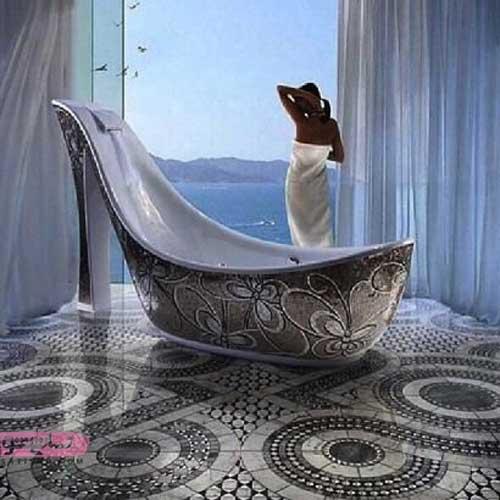 عکسهایی از وان حمام به شکل فانتزی