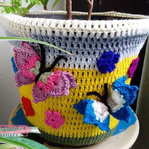ایده بافتنی برای گلدان اتاق خواب