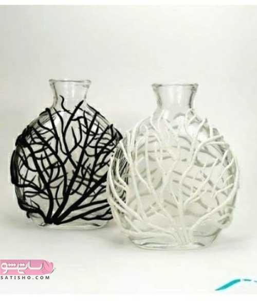 تزیین گلدان شیشه ای شیک