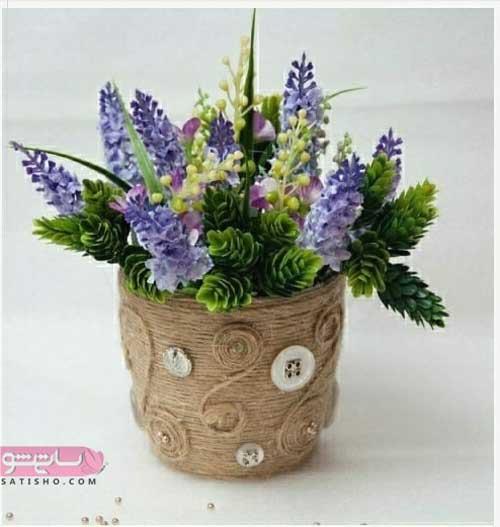 تزیین گلدان سفالی با پارچه نمدی