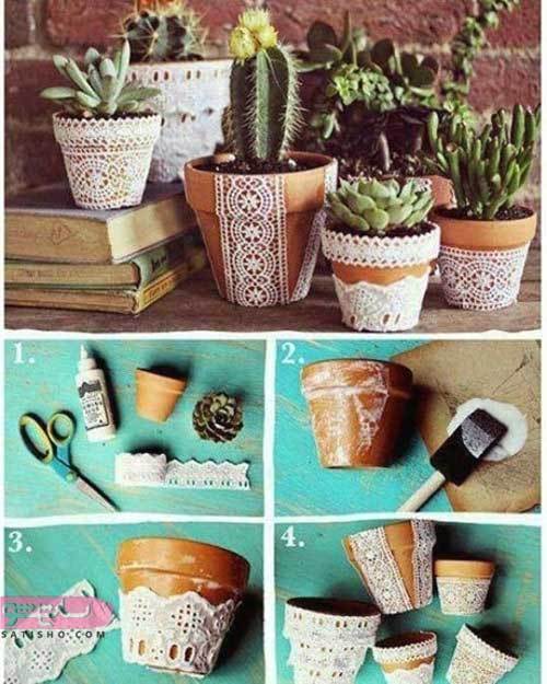 تزیین گلدان پلاستیکی با کاموا