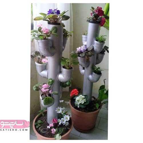 تزیین گلدان پلاستیکی