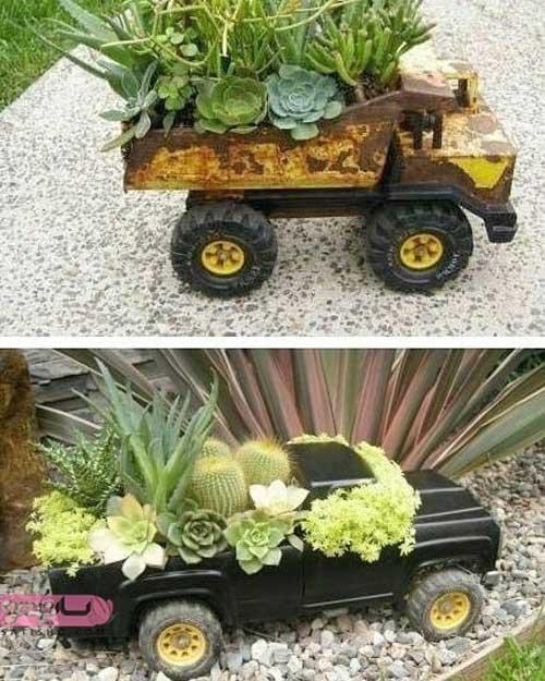 استفاده از ماشین های اسباب بازی برای گلدان کاکتوس