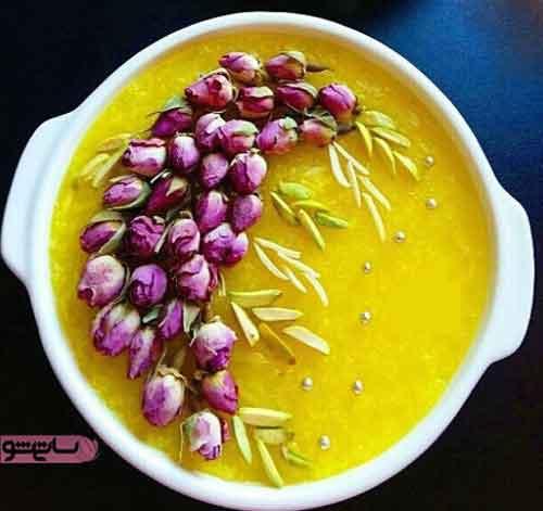 عکس دیزاین شله زرد و گل محمدی