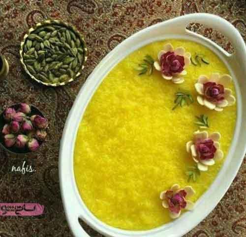 عکس تزیین های شله زرد با گل محمدی