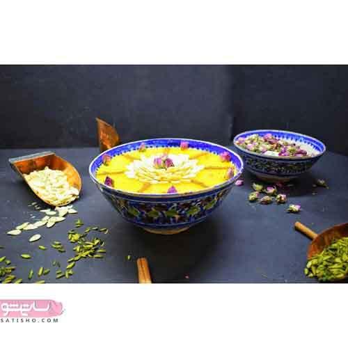 تزیین شله زرد با گل محمدی شیک و جذاب