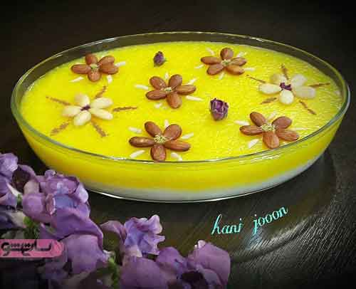 رسم گل روی شله زرد با دارچین و خلال