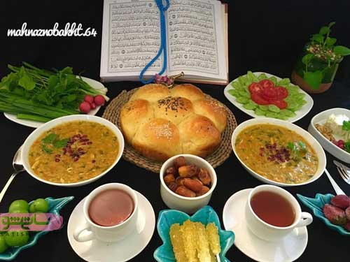 تزیین سفره افطار با سوپ و چای