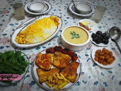 تزیین سفره شام افطاری