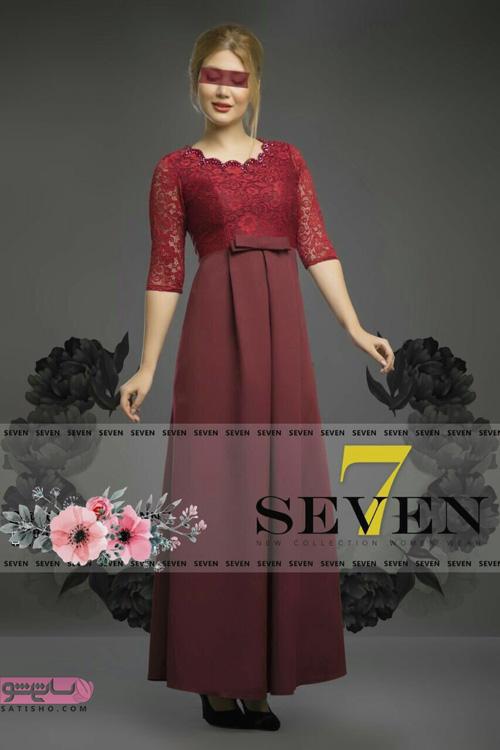 مدل لباس مجلسی یقه گرد باز