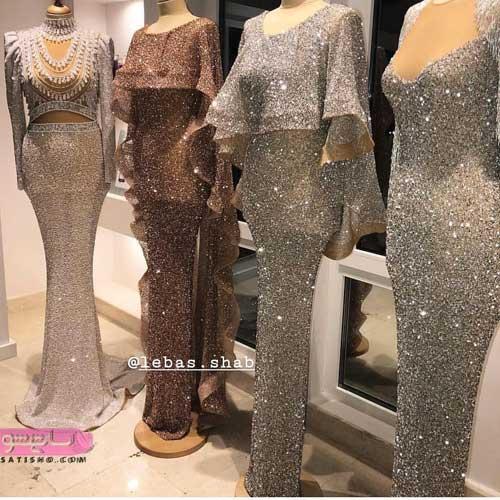 لباس شب زنانه بلند لمه 2019