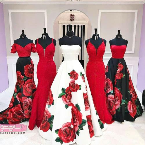 عکس هایی از لباس شب قرمز طرح دار بلند زنانه و دخترانه