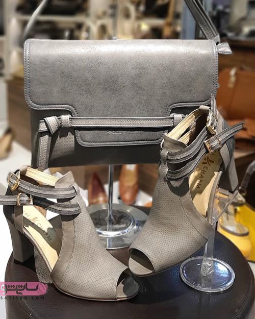 مدل کیف و کفش ست عروس رنگ روشن خاکستری مجلسی