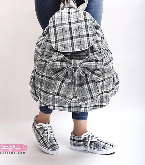 عکس کیف و کفش ست مدرسه دخترانه همراه با کوله پاپیون دار