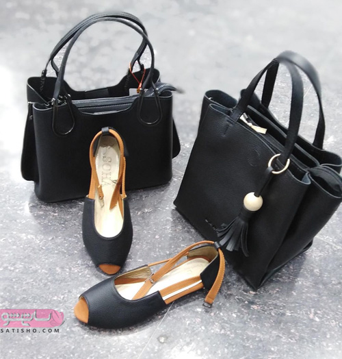 کیف و کفش ست مدرسه دخترانه دبیرستانی مشکی رنگ مناسب تابستان