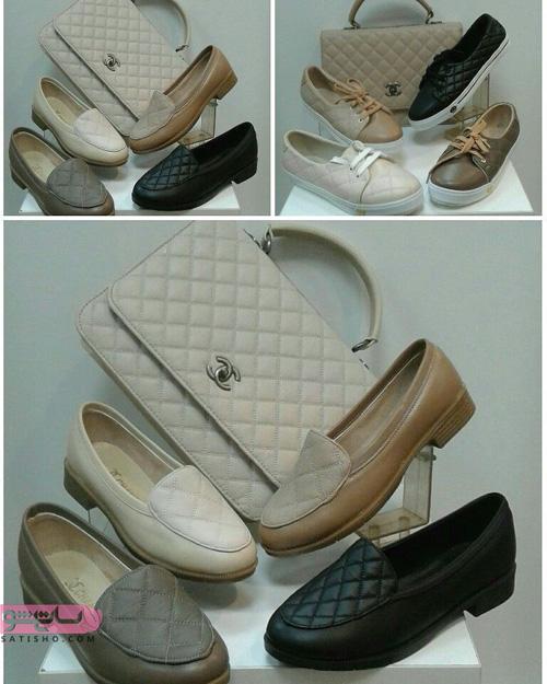 ست کیف و کفش دخترانه اسپرت کرم و مشکی