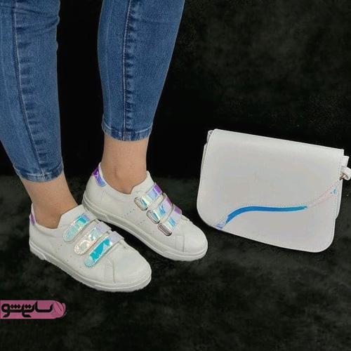 عکس کیف و کفش ست اسپرت سفید مناسب دانشگاه