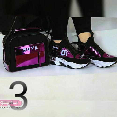 مدل کیف و کفش ست اینستاگرام منایب دانشگاه ومدرسه مشکی براق
