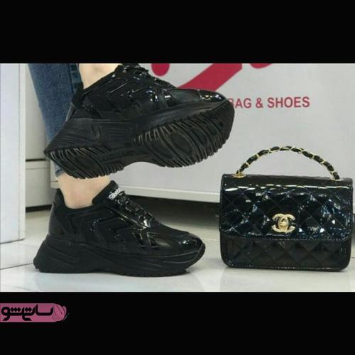 عکس کیف و کفش ست زنانه با کفش لژدار مشکی